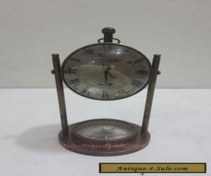 Beautiful Antique AEROPOSTALE  Table Clock With  Antique Compass for Sale