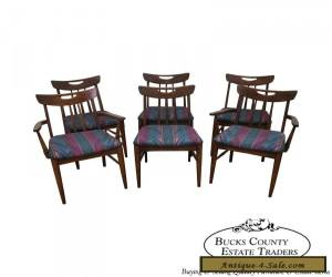 Vintage Mid Century Modern Set of 6 Walnut Dining Chairs for Sale