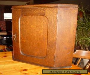Antique Quartersawn Oak Wall Hanging Corner Cupboard with original lock and key for Sale