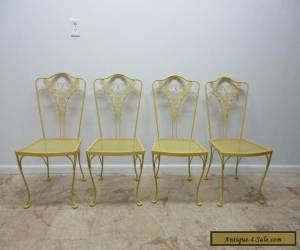 4 Vintage Mid Century Woodard Floral Outdoor Patio Porch Dining Side Chairs Set for Sale