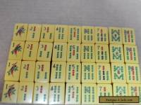 VTG 168 BAKELITE Chinese FLOWERS MAHJONG TILES Butterscotch Antique Old Estate