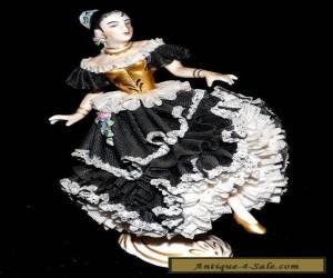 VINTAGE DRESDEN PORCELAIN LACE FLAMENCO DANCER - POSSIBLY A FRANKTHAL MARK for Sale