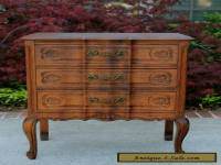 Antique French Tiger Oak Louis XV Style 3-Drawer Chest End Table Nightstand