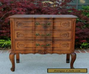 Antique French Tiger Oak Louis XV Style 3-Drawer Chest End Table Nightstand for Sale