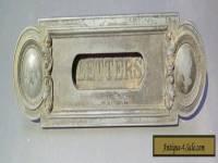 Antique cast iron letter mail slot, fancy