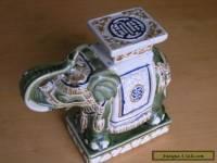 Large Vintage / Antique Porcelain Ceramic Chinese Elephant In Shape Of Pedestal