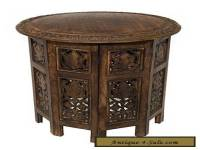 Vintage Coffee Craft Table Hand Carved Solid Wood Antique Brown