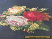 ANTIQUE VINTAGE NEEDLEPOINT TAPESTRY HAND MADE ROSES very ATTRACTIVE!