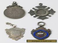 4x Antique/Vintage Sterling Silver 1887-1930 Medals/Fobs