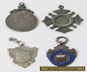 4x Antique/Vintage Sterling Silver 1887-1930 Medals/Fobs  for Sale