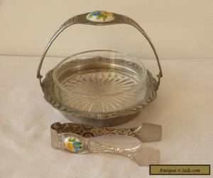 MINT! PRETTY VINTAGE STAINLESS STEEL AND ENAMEL SUGAR BOWL WITH TONGS! for Sale