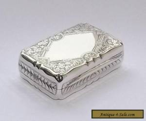 SUPERB ANTIQUE VICTORIAN SOLID SILVER STERLING SNUFF BOX BIRMINGHAM 1896 for Sale