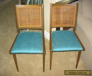 Pair Of Two Vintage Danish Mid Century Modern Turquoise CANE Accent CHAIRS for Sale