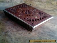 Vintage wooden with brass inlay trinket box
