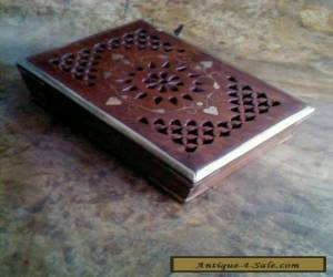 Vintage wooden with brass inlay trinket box for Sale