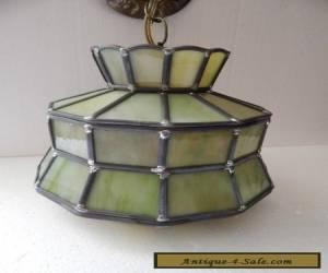 Vtg. Green Slag Glass Hanging Light Fixture - Unique Shape  for Sale