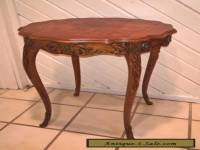 Vintage Carved Wood French Country Side End Table - Inlaid Top w/ Flowers
