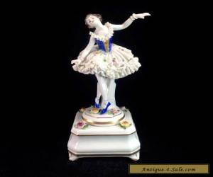 Dresden Volkstedt Music Box Figurine Lady Ballerina Dancer Porcelain Lace for Sale