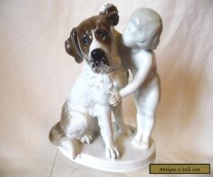 "1930s ROSENTHAL GERMANY FIGURINE ""THE SECRET"" #1259 MAX FRITZ BOY WITH DOG for Sale"