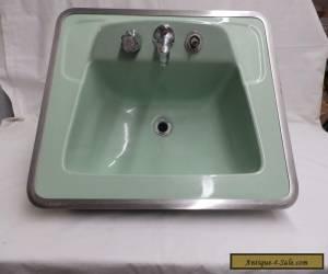 Vintage Jadeite Green Porcelain Ceramic Bathroom Sink old Lavatory 4954-15 for Sale