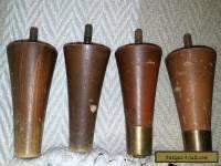 Lot 4 Vintage Tapered Wood Dresser Furniture Legs, Feet Mid-Century Modern