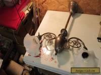 Antique Brass 2 Arm Ceiling Light fixture & Ruffled Shades