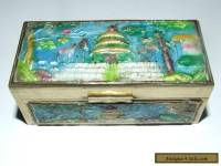 VINTAGE / ANTIQUE ORIENTAL CHINESE CLOISONNE / ENAMELLED BRASS BOX.