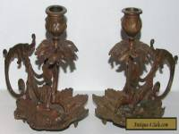 Victorian Cast Brass Ornate French Rococo Leaf Form Candle Holder Pair