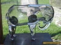 RARE Loetz Czech 1920's Bohemian Art Glass Blown Crystal Large ELEPHANT Vase