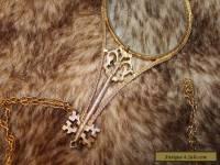 Vintage FLORENZA Long Rare Gold Victorian Glass Magnifying Pendant Necklace