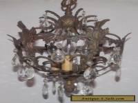 Vtg Mid Century Spain Brass Crystal Prism Basket Swag Lamp Chandelier Prism Cage