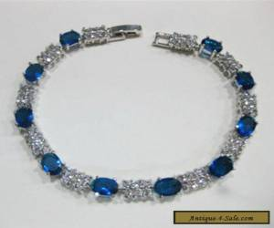 Fascinating Vogue style jewelry 18k white gold sapphire gem bracelet 8 inch.+box for Sale