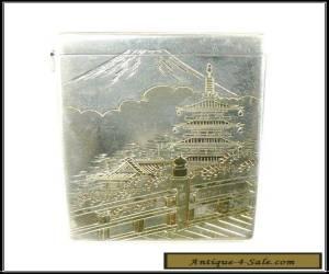 Vintage Japanese 950 Sterling 2 Tone Cigarette Case Mt Fuji & Pagoda Artist Sign for Sale