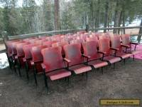 1 ROW OF 6 ANTIQUE VINTAGE AMERICAN SEATING CO. WOOD MOVIE THEATER CHAIR SEATS