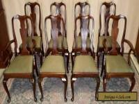 HENKEL HARRIS CHAIRS Mahogany Queen Anne Style Dining Chairs Set/8 VINTAGE