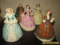 Set of 5 Godey's Fashions 1863 Sitzendorf porcelain girls