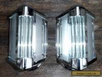 Vintage Pair of Art Deco Chrome & Glass Rod Wall Sconces Lights
