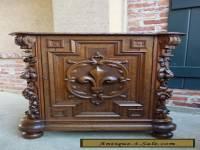Antique French Renaissance Carved Oak CABINET Fleur de lis Bookcase End Table