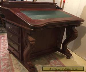 RARE Antique Handmade Davenport Carved Mahogany Writing Desk for Sale
