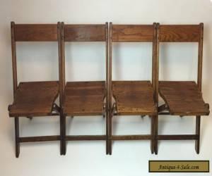 Vintage Antique Wood Oak Wooden Folding Chairs Set of 4 for Sale