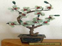 ANTIQUE CHINESE MINIATURE JADE-TREE WITH PEKING GLASS LEAVES & BRASS & JADE BASE