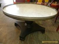 Vintage Retro Marble Top Round Accent Foyer or Wood Coffee Table