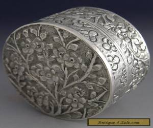 BEAUTIFUL CHINESE EXPORT SILVER BLOSSOM BOX c1900 ANTIQUE for Sale