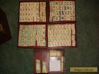 Vintage Antique Chinese Mah Jong Mahjong Set Wood Case Carved Bone Bamboo