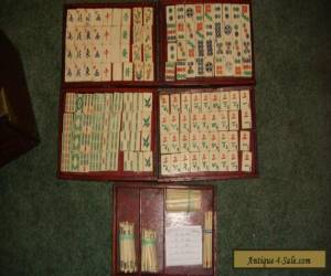 Vintage Antique Chinese Mah Jong Mahjong Set Wood Case Carved Bone Bamboo for Sale