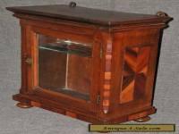 Antique Walnut Small Georgian Table Top Parlor Cabinet Glass Door Turnip Feet