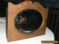 Victorian/Antique Primitive wood Carved Towel Rack Mirror with shelf