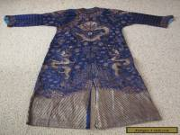Antique Chinese Embroidered Silk Robe - Dragons - Tunic - Blue