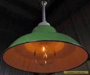 "Vintage CROUSE - HINDS GREEN PORCELAIN 16"" LIGHT industrial glass globe barn for Sale"