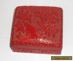 NICE CHINESE FLORAL CARVED CINNABAR LACQUER ENAMEL HUMIDOR BOX for Sale